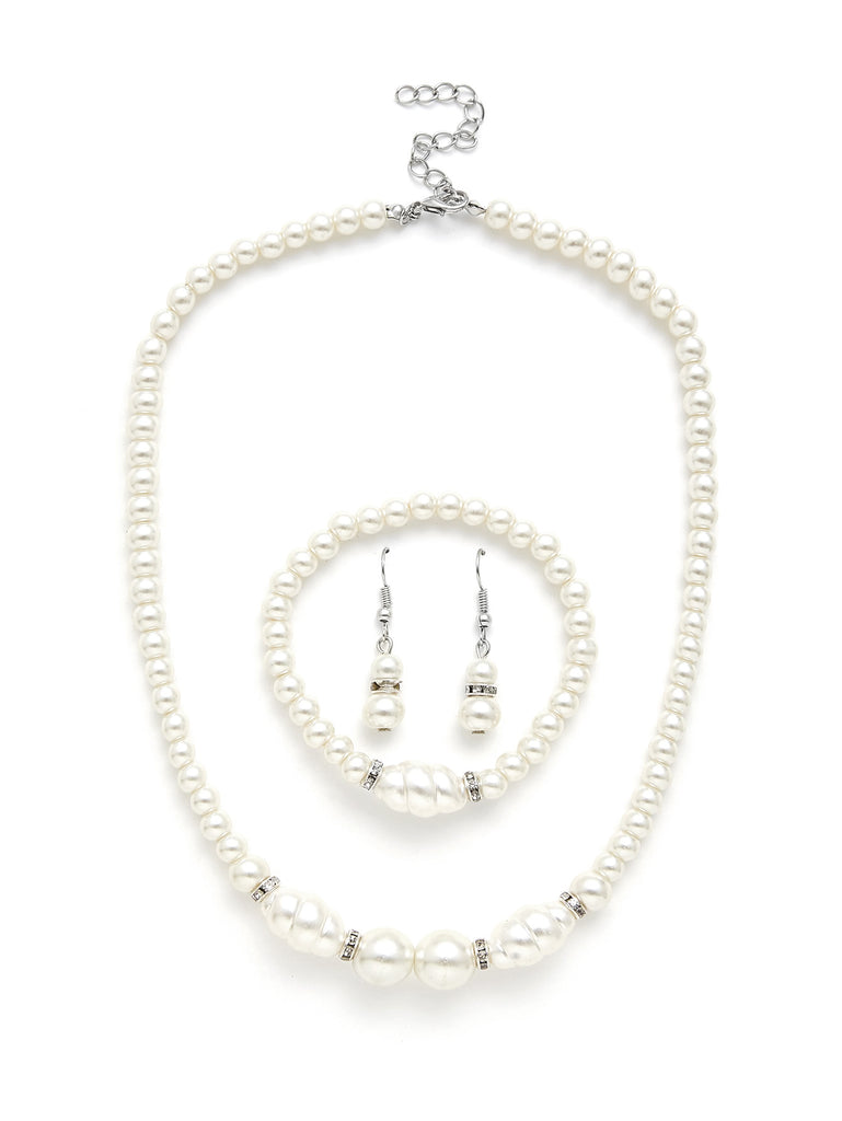 Faux Pearl Design Necklace & Earring & Bracelet Set