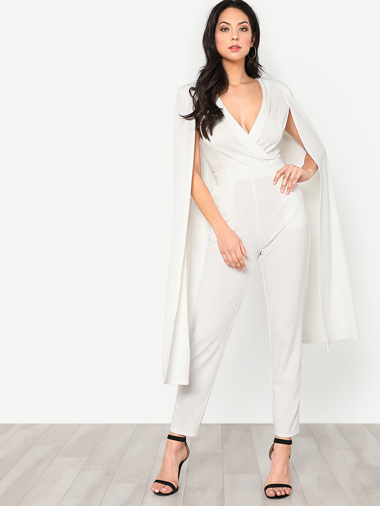 Cape Sleeve Surplice Wrap Tailored Jumpsuit