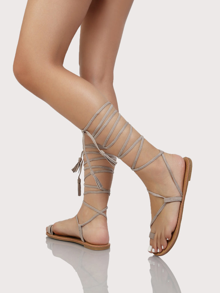 Faux Suede Tie Up Sandals TAUPE (2)
