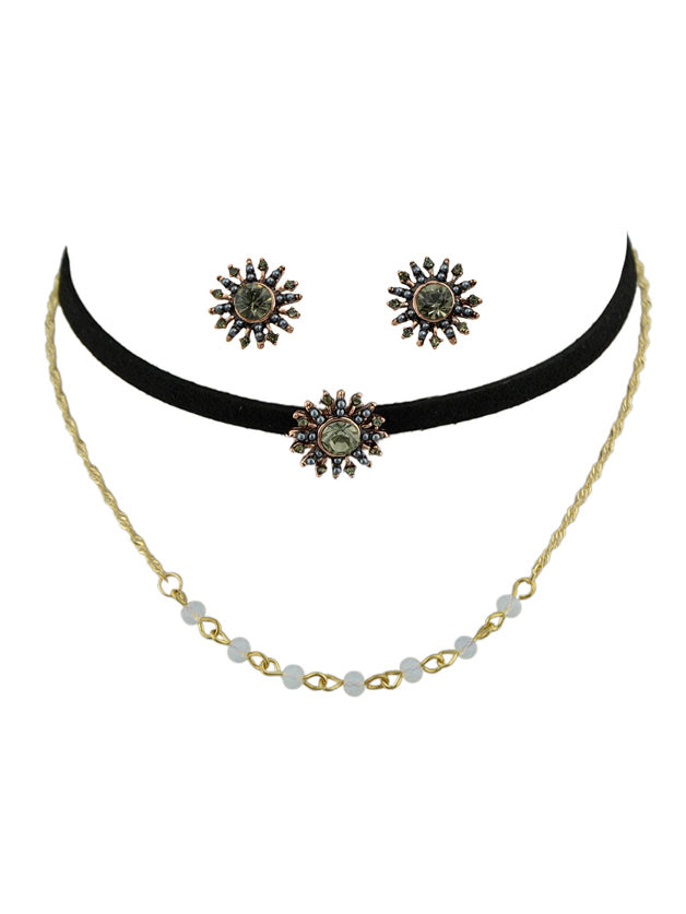 Chain Necklace Black Tattoos Choker And Flower Stud Earrings