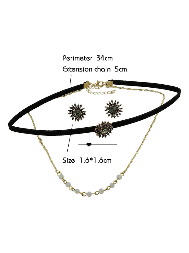 Chain Necklace Black Tattoos Choker And Flower Stud Earrings (2)