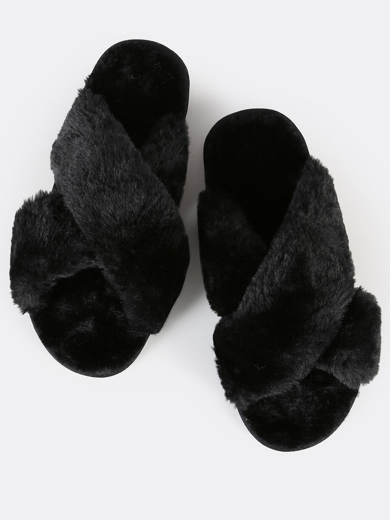 Fuzzy Criss Cross Slippers BLACK (2)