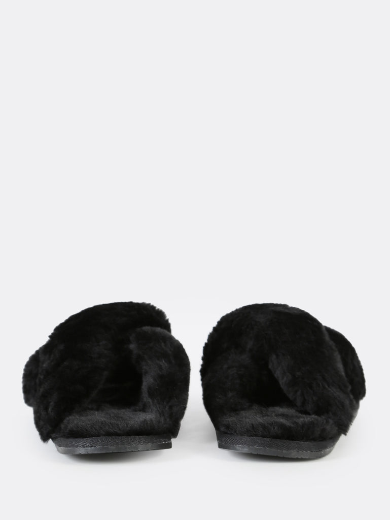 Fuzzy Criss Cross Slippers BLACK (3)