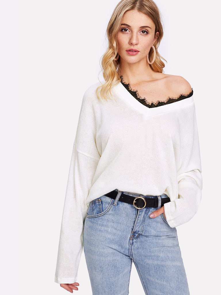 Contrast Eyelash Lace Knit Jumper