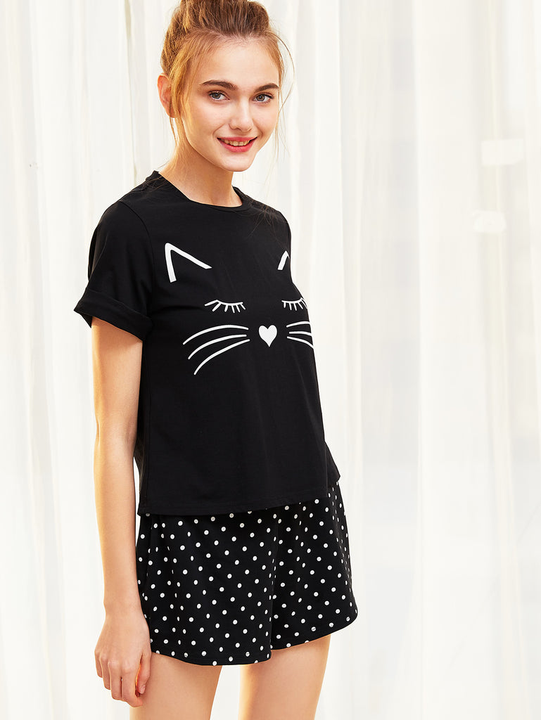 Cat Print Cuffed Top And Polka Dot Shorts Pajama Set (2)