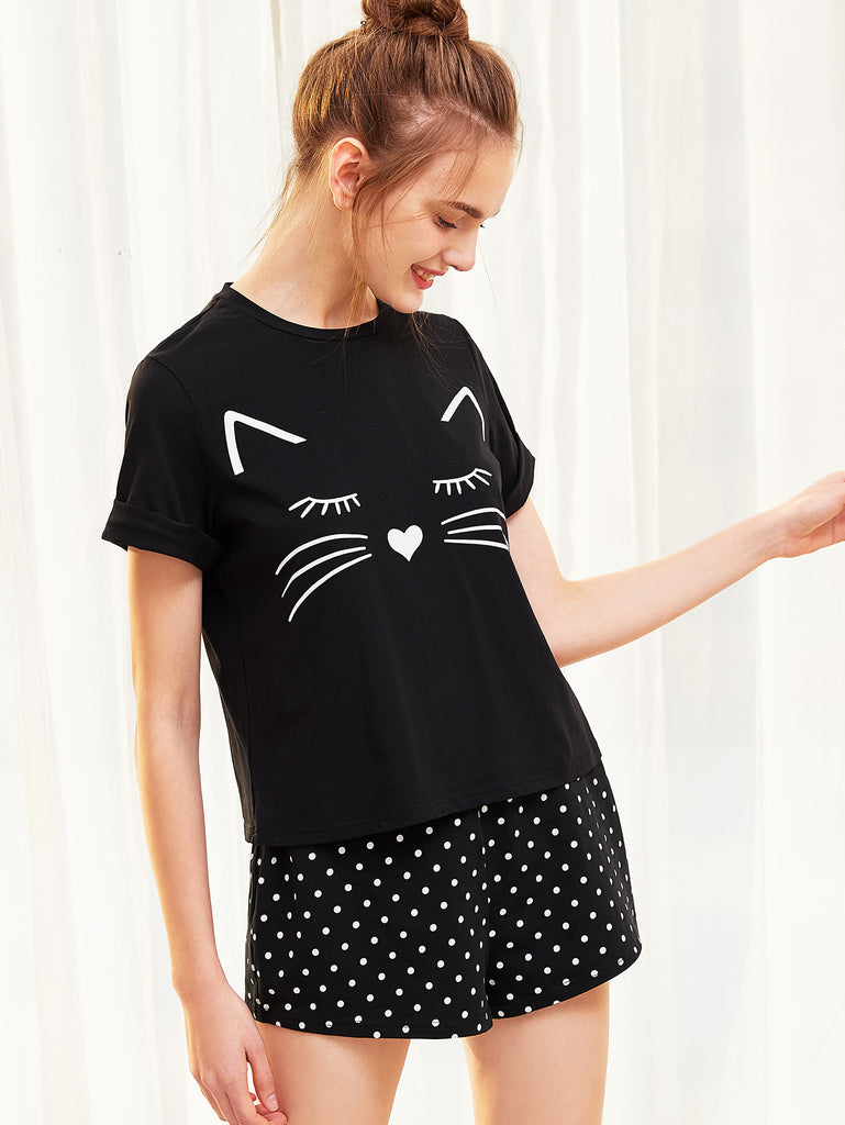 Cat Print Cuffed Top And Polka Dot Shorts Pajama Set