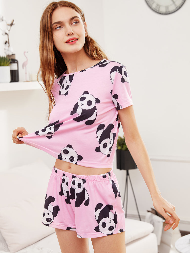 Panda Print Tee And Shorts Pajama Set (2)