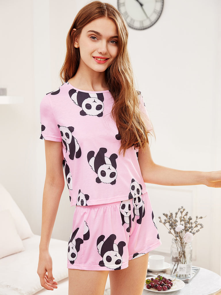 Panda Print Tee And Shorts Pajama Set (3)