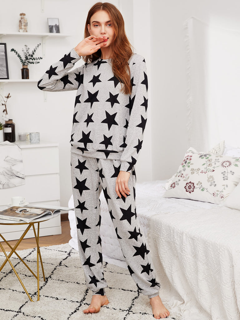 Allover Star Print Heathered Sweatshirt & Sweatpants Pajama Set (2)