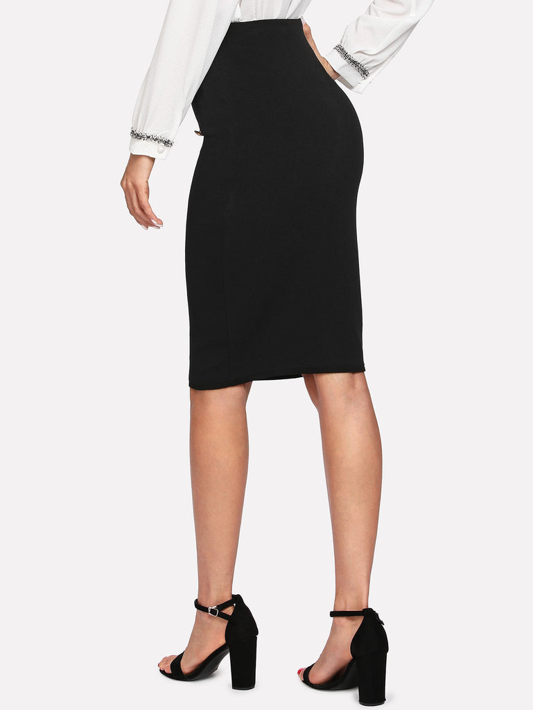 Double Button Pencil Skirt (5)