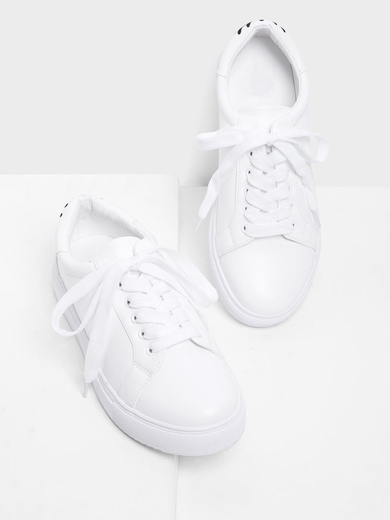 Eye Embroidery Lace Up Slip On Sneakers (4)