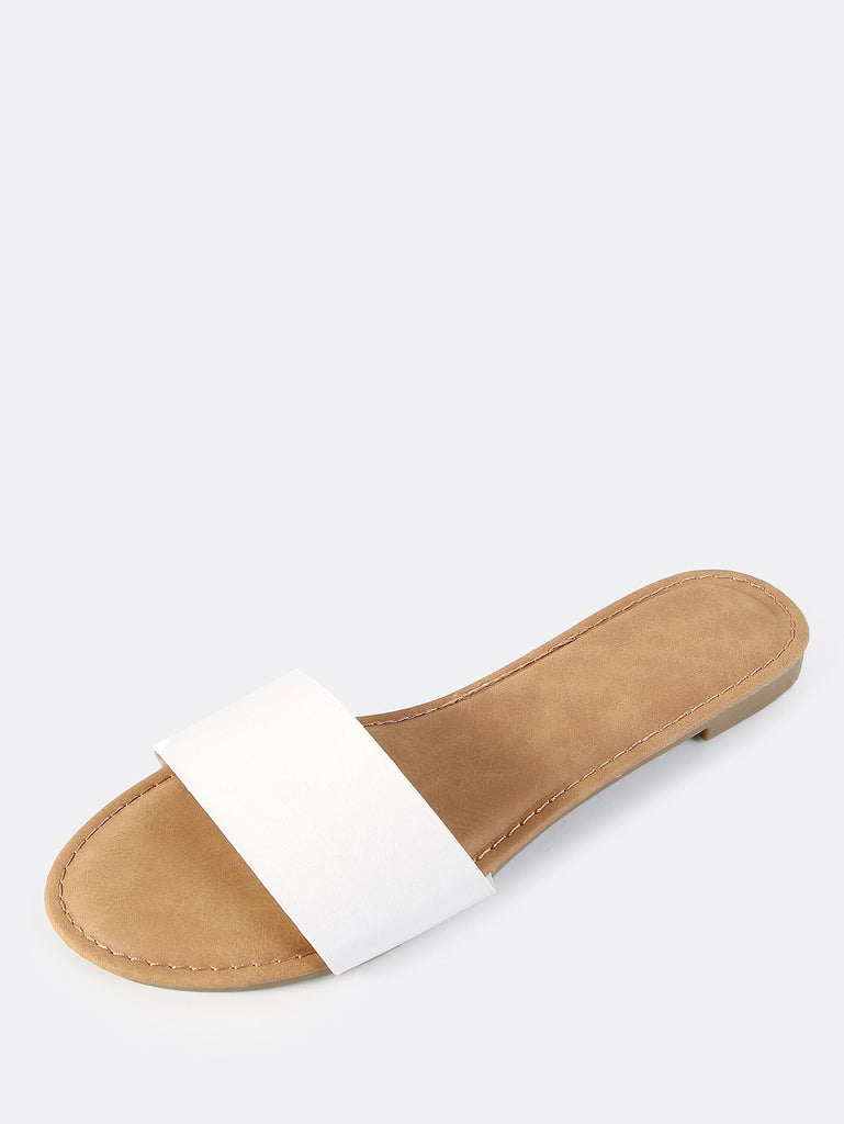 Faux Leather Slip On Sandals WHITE (2)