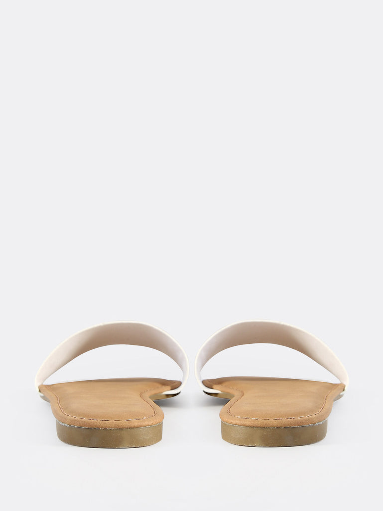 Faux Leather Slip On Sandals WHITE (3)