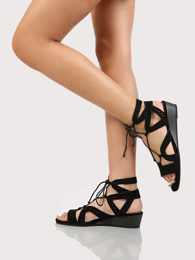 Cut Out Mini Wedge Sandals BLACK (2)