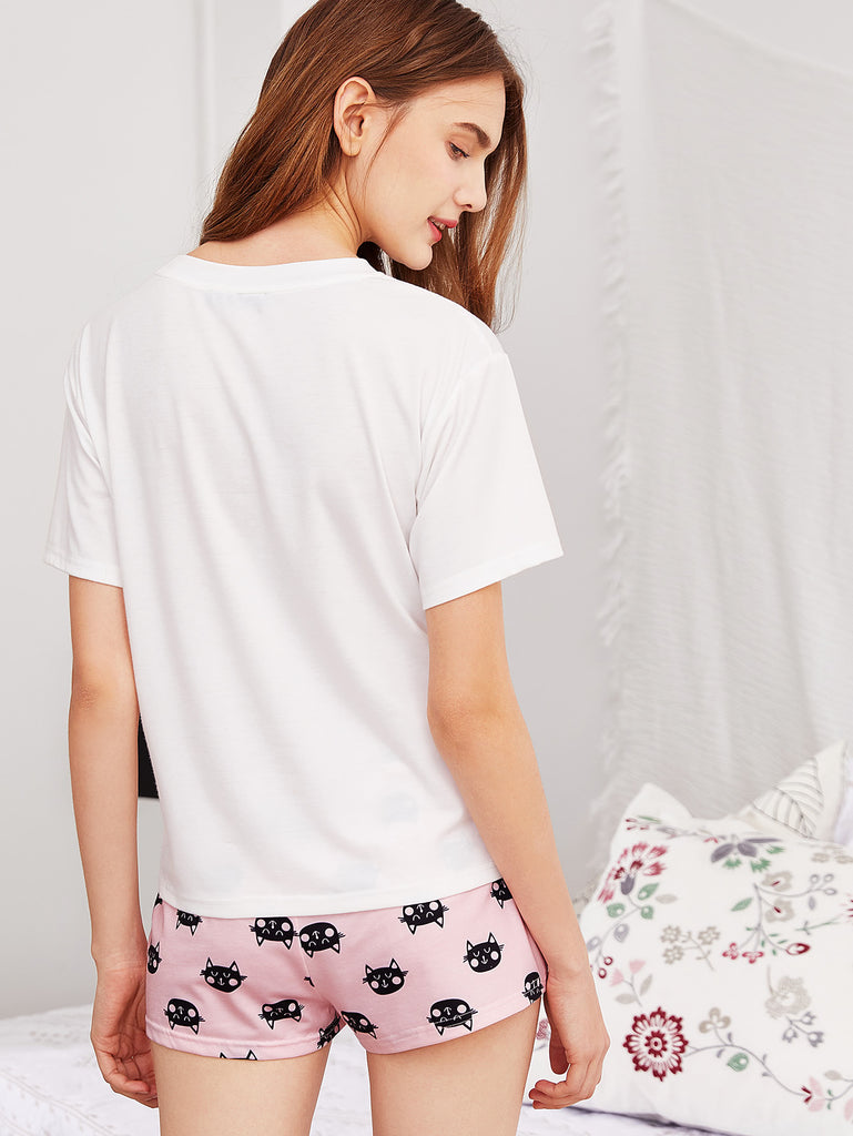 Letter Print Tee And Cat Print Shorts PJ Set (3)
