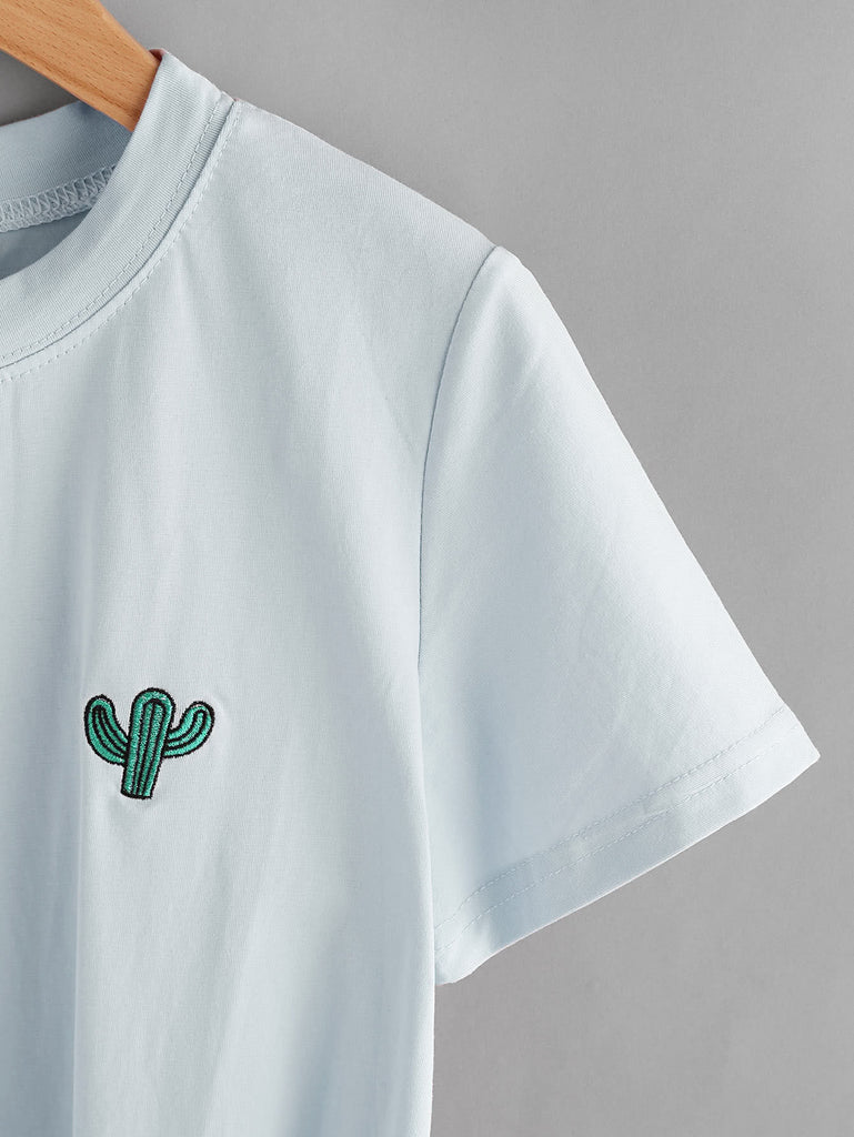 Cactus Embroidered Knot Side Tee (3)