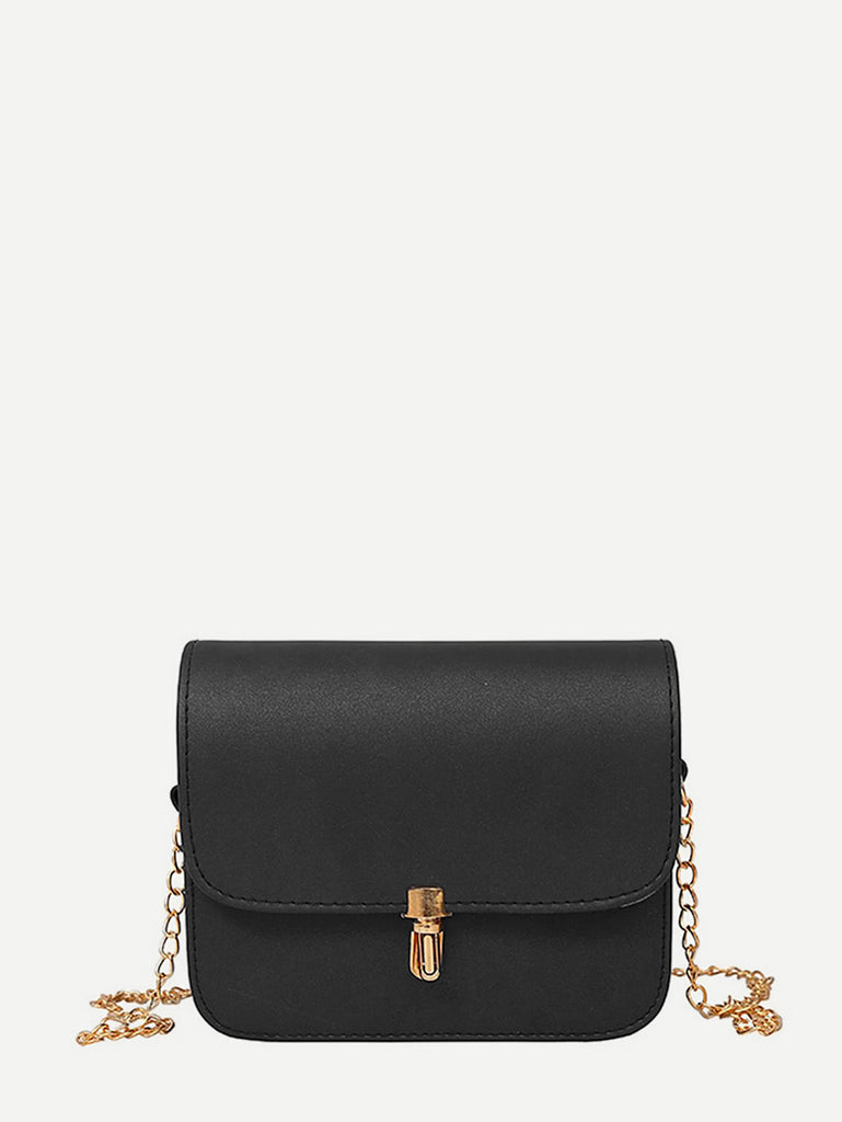 PU Flap Shoulder Bag With Chain