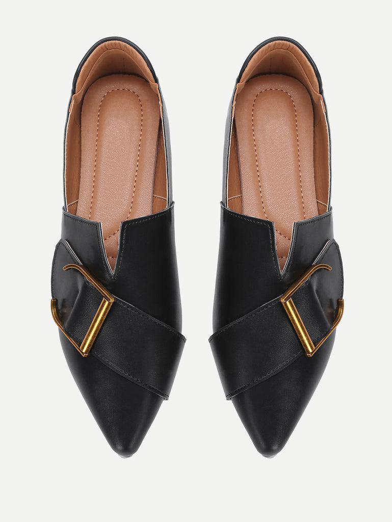 Buckle Front V Cut Detail PU Flats (4)