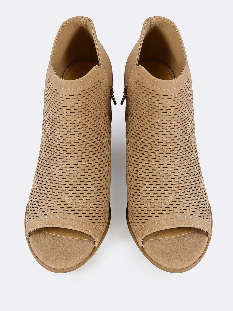 Open Toe Perforated Double V Side Slit Boots NATURAL (2)