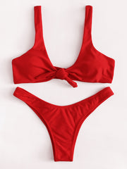 Knot High Leg Bikini Set