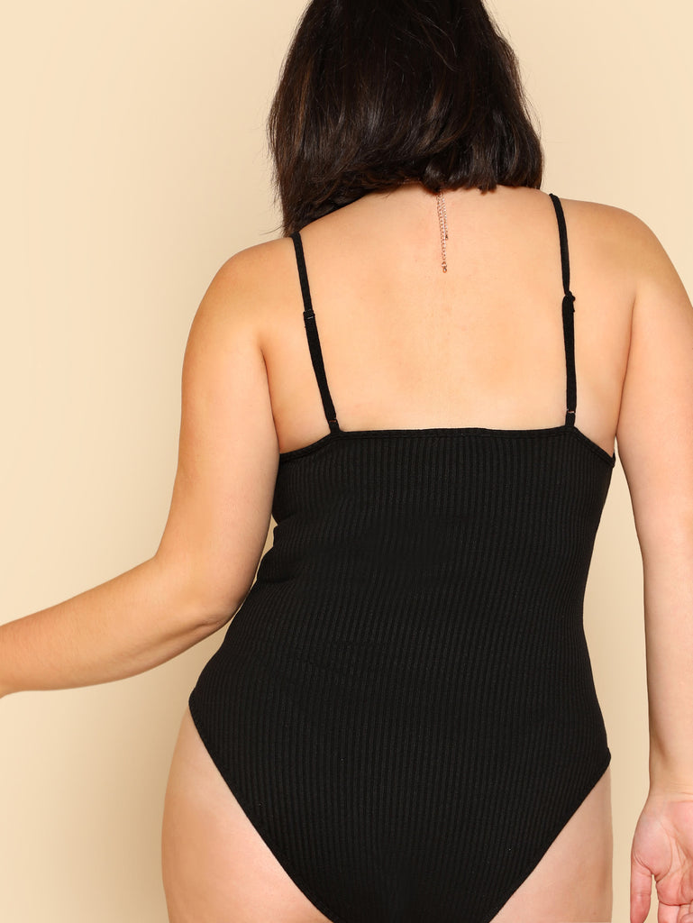 O-Ring Zipper Front Ribbed Bodysuit (2)