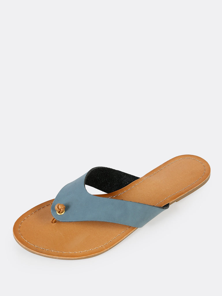 Knotted Thick Banded V-Strap Slippers BLUE (2)
