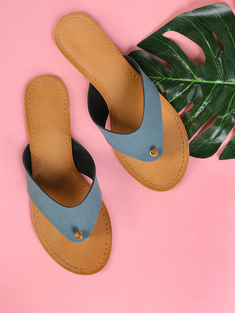 Knotted Thick Banded V-Strap Slippers BLUE