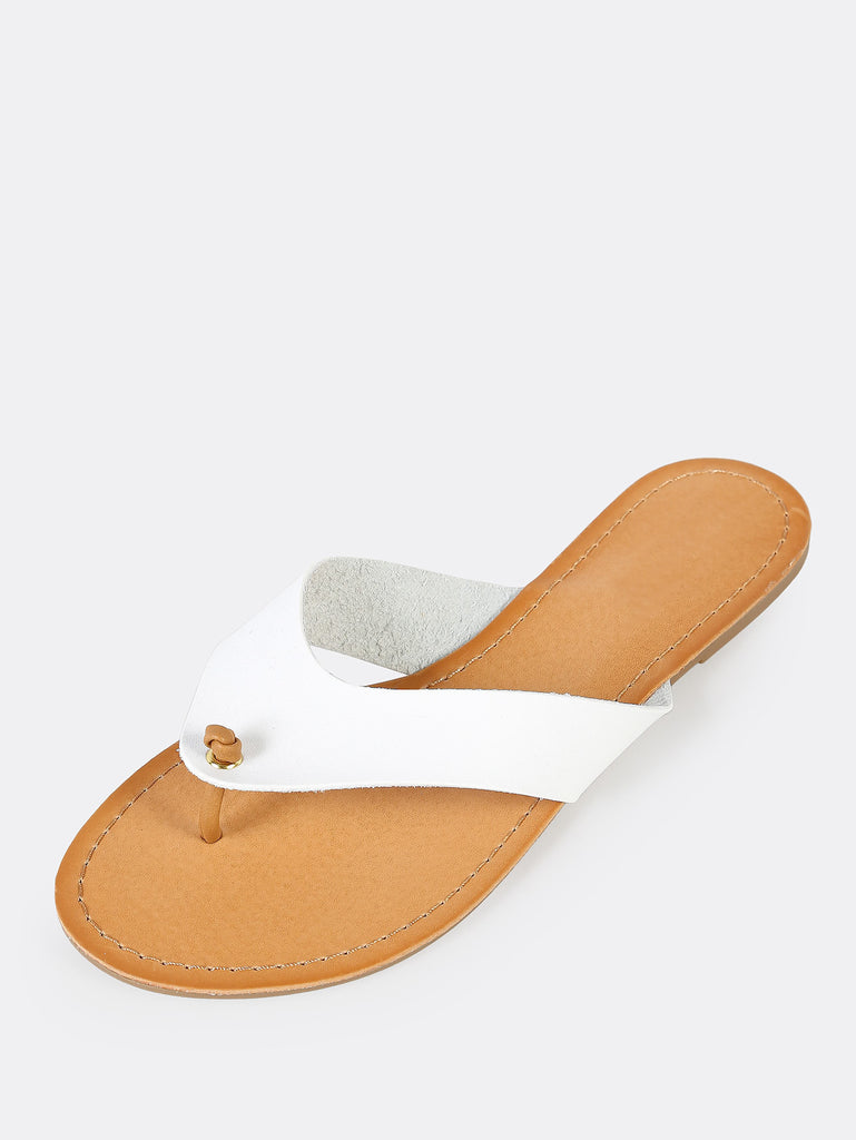 Knotted Thong Flat Slippers WHITE (2)