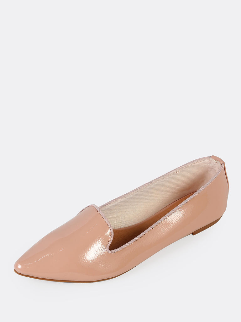 Patent Pointy Toe Loafer Flat NUDE (2)