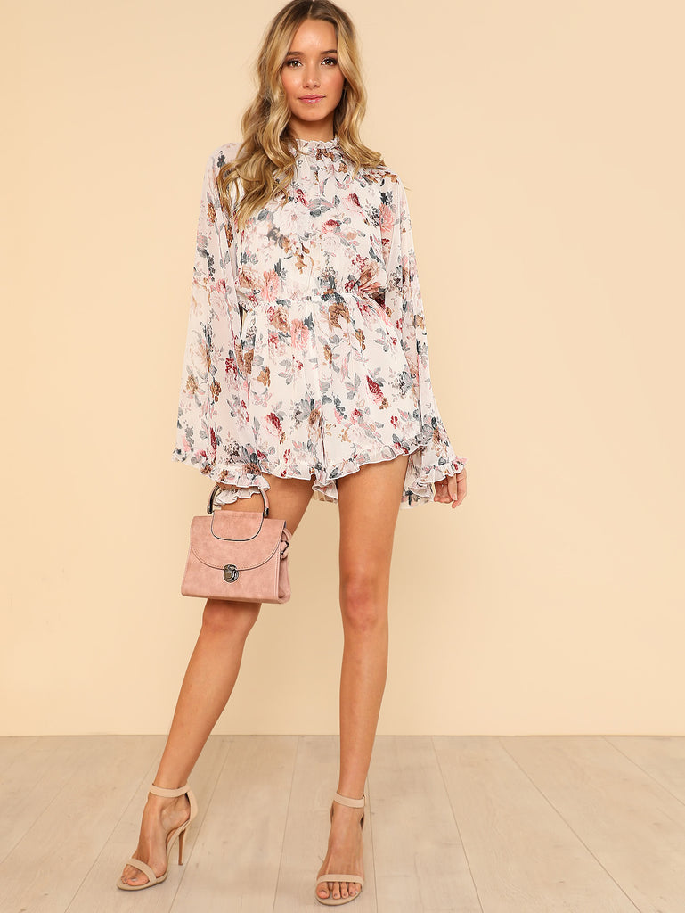 Exaggerated Bell Sleeve Frill Detail Romper (4)