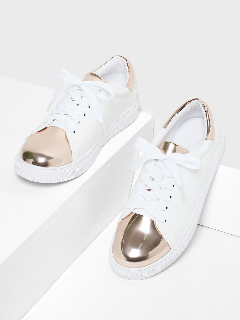 Two Tone Round Toe Sneakers