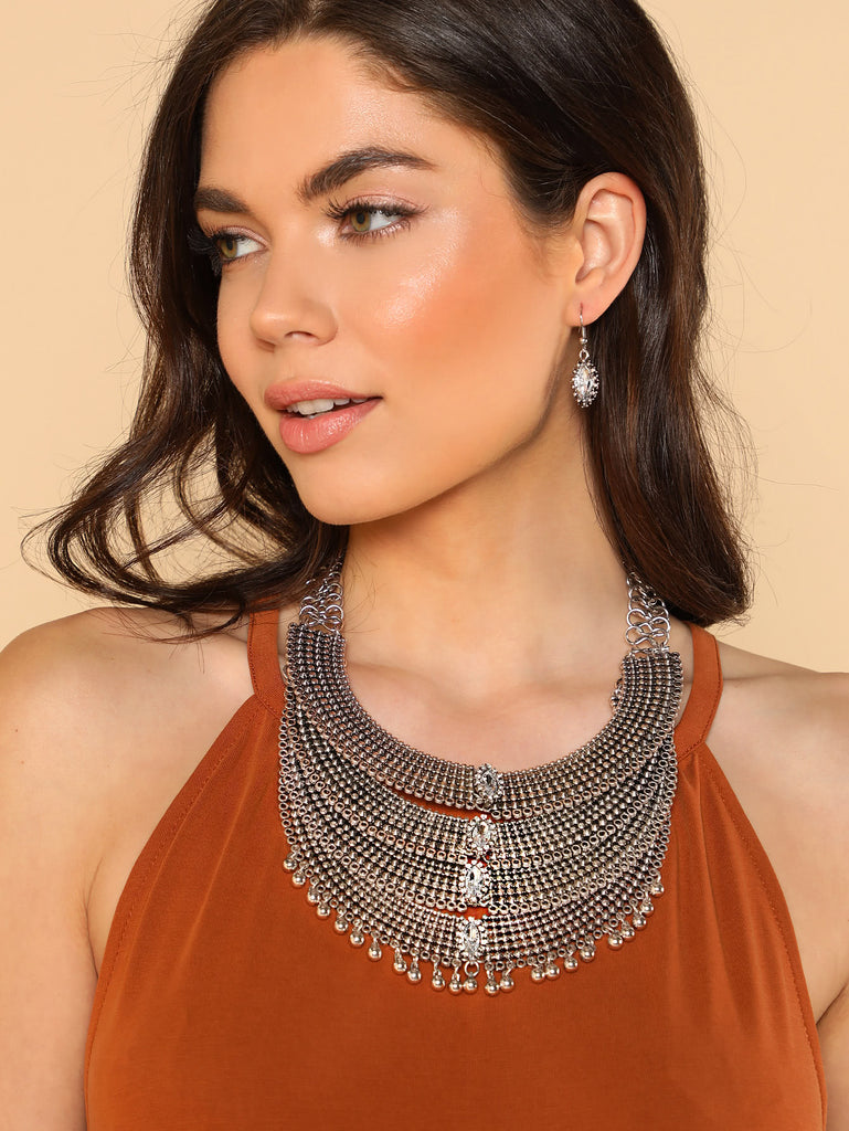 Chained Collar Statement Necklace with Embellished Jewels and Matching Earrings Set SILVER