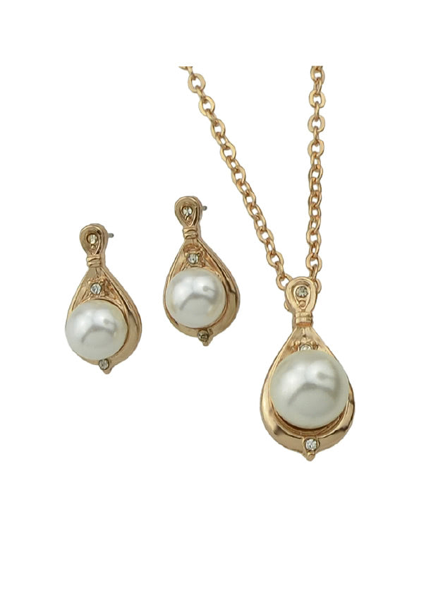 Jewelry Set Simulated-Pearl Necklace And Earrings (2)