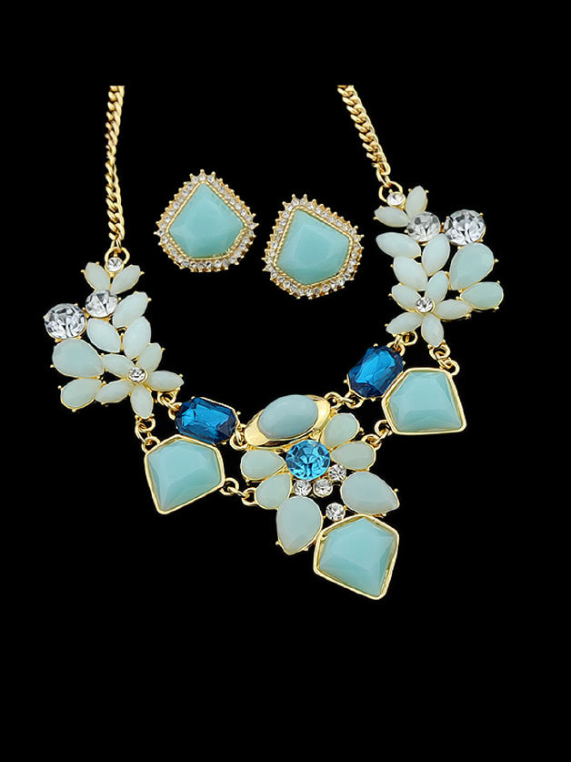 Blue Colorful Gemstone Flower Jewelry Sets