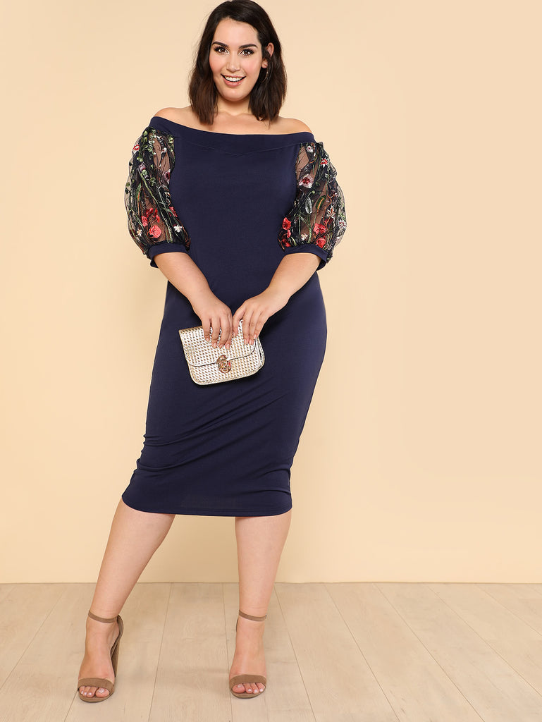 Bardot Pencil Dress With Embroidered Mesh Sleeve (4)