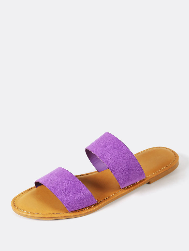 Faux Suede Double Band Slide Sandal PURPLE (2)