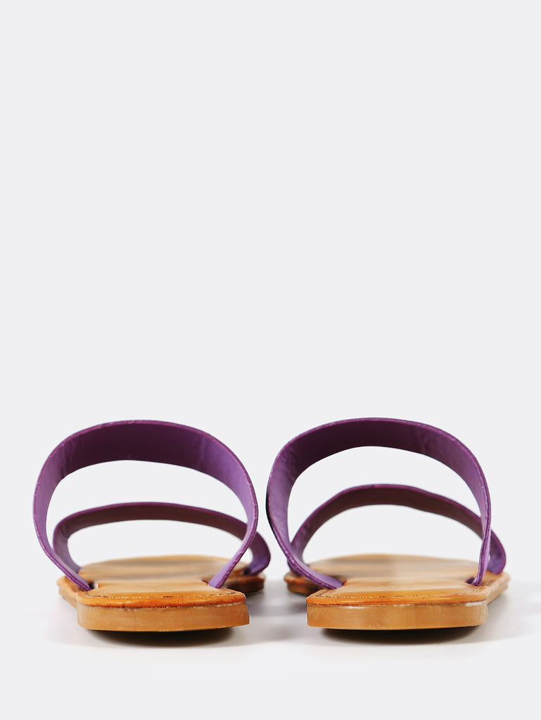 Faux Suede Double Band Slide Sandal PURPLE (3)