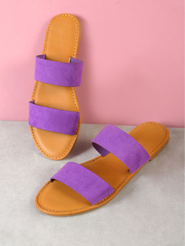 Faux Suede Double Band Slide Sandal PURPLE