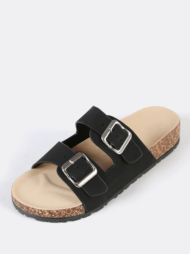 Double Buckled Strap Cork Footbed Sandal BLACK (2)