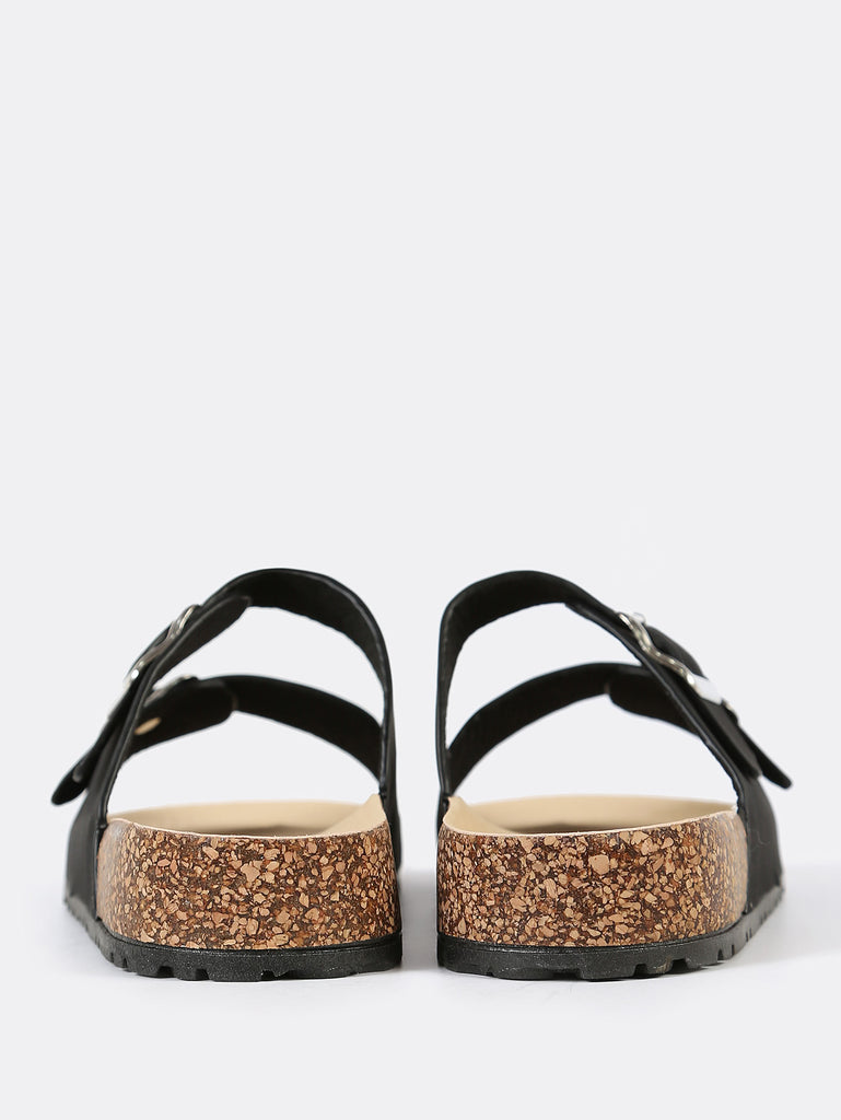Double Buckled Strap Cork Footbed Sandal BLACK (3)