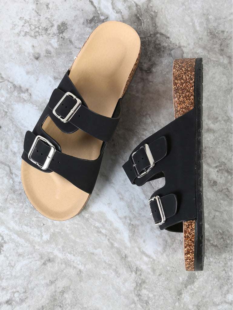 Double Buckled Strap Cork Footbed Sandal BLACK