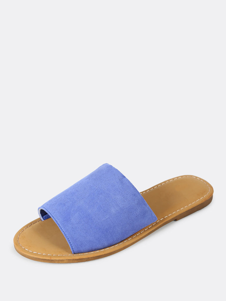 Faux Suede Single Band Slide Sandal PERIWINKLE (2)