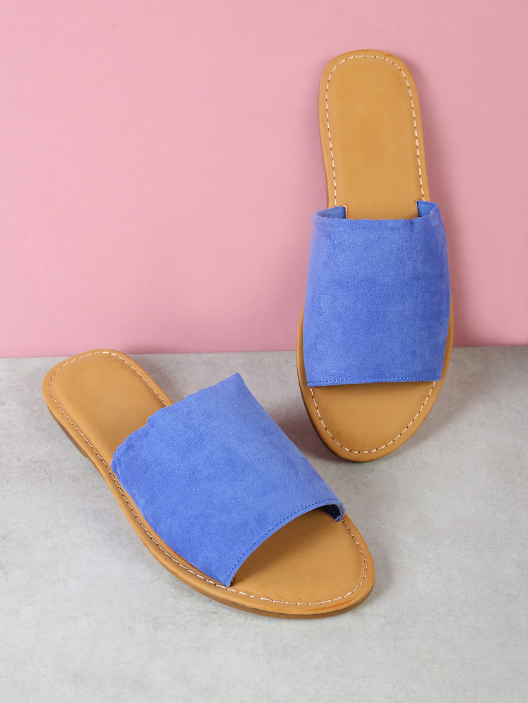 Faux Suede Single Band Slide Sandal PERIWINKLE