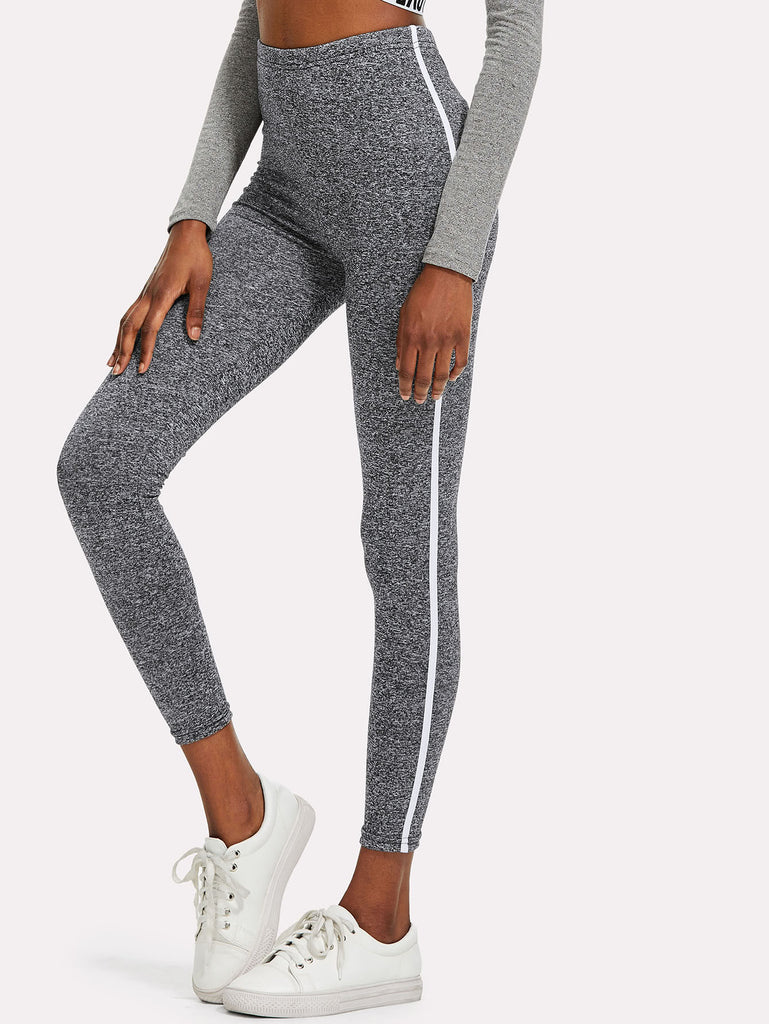 Tape Side Marled Knit Leggings