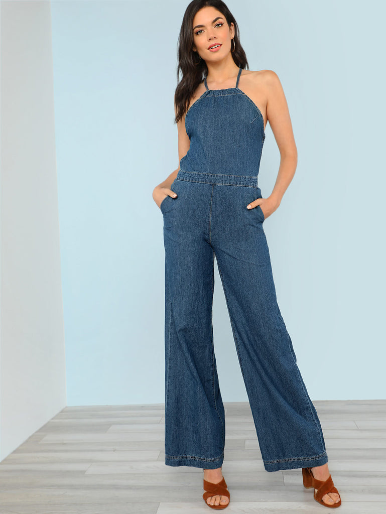 Denim Halter Neck Wide Leg Jumpsuit