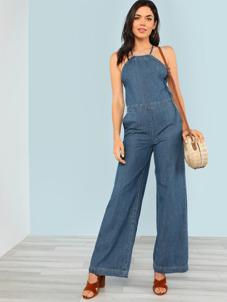 Denim Halter Neck Wide Leg Jumpsuit (4)