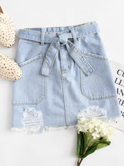 Dual Pocket Tie Waist Raw Hem Denim Skirt