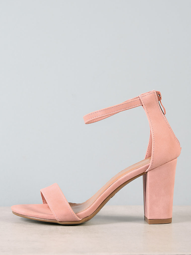Single Band Zip Back Chunky Heel BLUSH