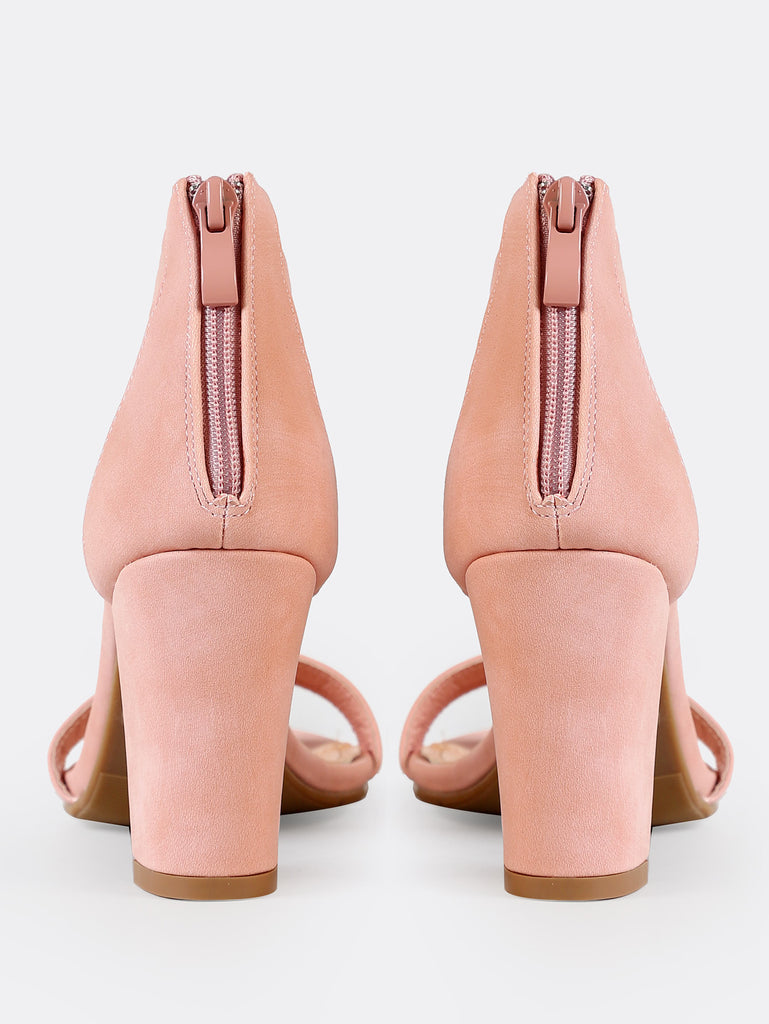 Single Band Zip Back Chunky Heel BLUSH (3)