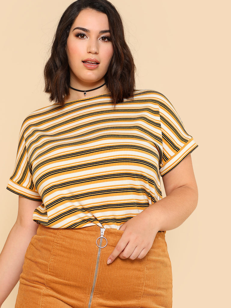 Rib Knit Striped T-shirt